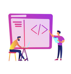programmers with laptop coding vector image