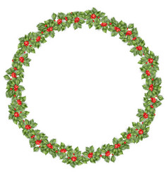 Round christmas wreath with holly eps 10 vector