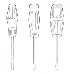 screwdrivers contours vector image