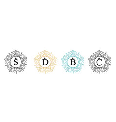 set elegant floral monogram template design round vector image