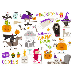 Set of halloween cartoon characters sign symbol vector