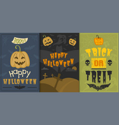Set of happy halloween greeting card vector