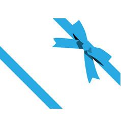 shiny blue satin ribbon on white background blue vector image