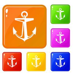 ship anchor icons set color vector image
