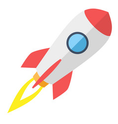 Simple flying rocket spaceship vector