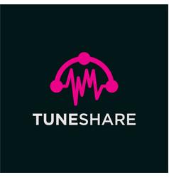 Sound music headset technology logo vector
