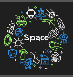 space themed outline icons in neon colors set vector image