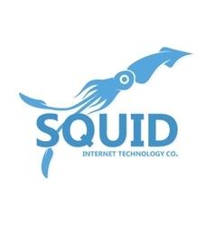 Squid logo blue silhouette vector