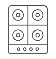 stove thin line icon kitchen and cooker electric vector image