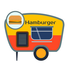 Street food festival hamburger trailer vector