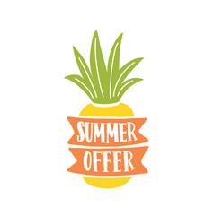 Summer offer lettering written on ribbons vector
