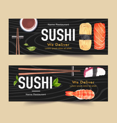 Sushi set for banners creative watercolour vector