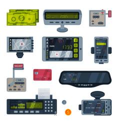 Taximeter devices set taxi service calculating vector