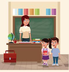 teacher with kids in classroom vector image