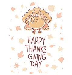 thanksgiving with turkey bird and text happy vector image