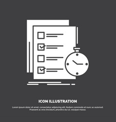 Todo task list check time icon glyph symbol for vector