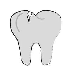 Tooth broken isolated vector
