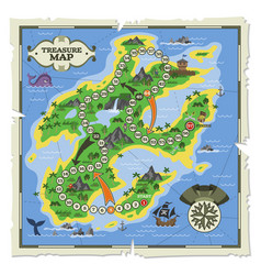 treasure map pirate adventure on island vector image