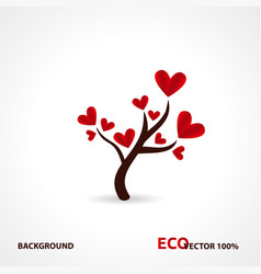 tree with paper leaves and hanging hearts love vector image