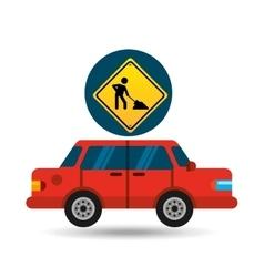 Under construction road sign sedan red vector