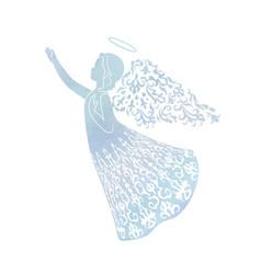 Watercolor angel with ornamental wings vector