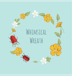Whimsical wreath with flowers and bugs vector