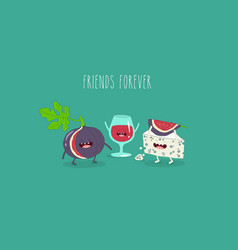Wine cheese and fig friends vector