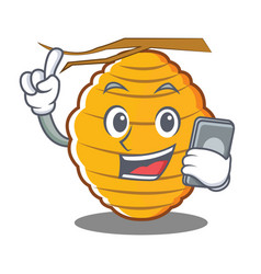 With phone bee hive character cartoon vector
