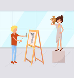 woman posing to painter drawing picture vector image