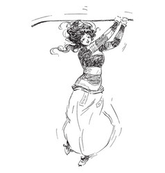 Woman swinging golf clubs vintage vector