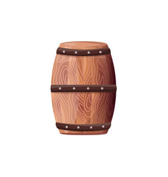 wooden barrel with wine on white container vector image