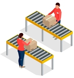 Worker goods packaging with boxes at packing line vector