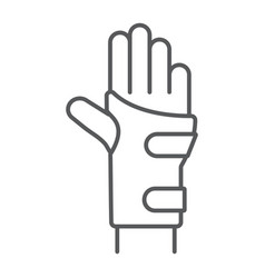wrist brace thin line icon orthopedic and medical vector image