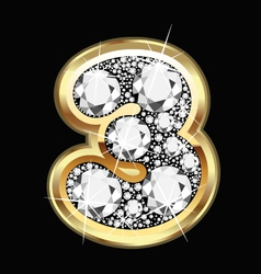 3 number gold and diamonds vector image vector image