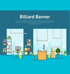 cartoon office room interior card poster vector image vector image