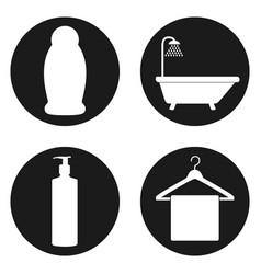 line bathroom icon set in circle button vector image
