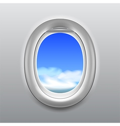 Sky in aircraft window background vector image vector image