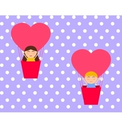Boy and gerl sitting in hot air balloon in the vector image