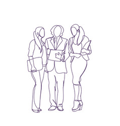 business people silhouette discuss document vector image vector image