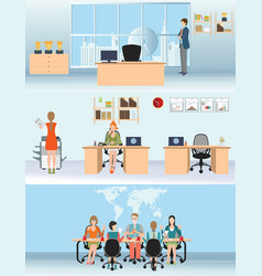 businessman and woman in interior office building vector image vector image