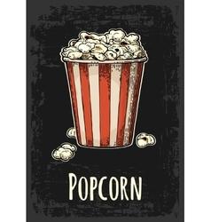 Carton bucket full popcorn with title vector image