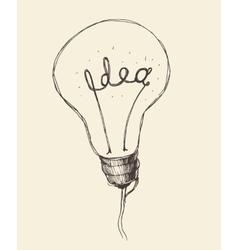 Concept creative light bulb icon doodle hand drawn vector