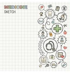 Medical hand draw integrated icon set on paper vector image vector image