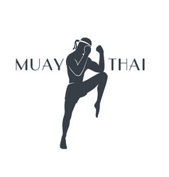 muay thai athlete silhouette on white vector image vector image