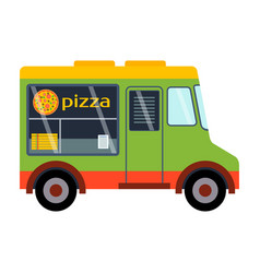street food festival pizza trailer vector image vector image