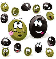 black and green olive cartoon with facial vector image vector image