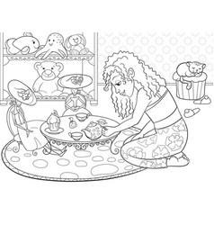 children coloring girl in childrens room vector image vector image