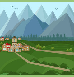 downtown houses and mountains view vector image vector image