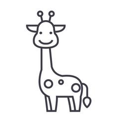 giraffe line icon sign on vector image