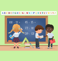 kids pupils in classroom near school board vector image